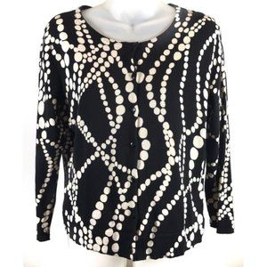 ✨HP✨CAbi Black and Ivory Dotted Cardigan